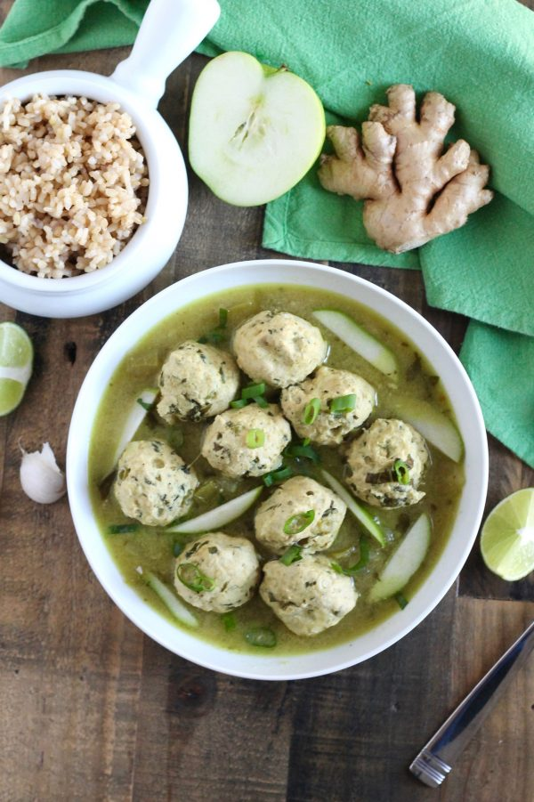 Chicken Meatballs with Green Curry and Apples