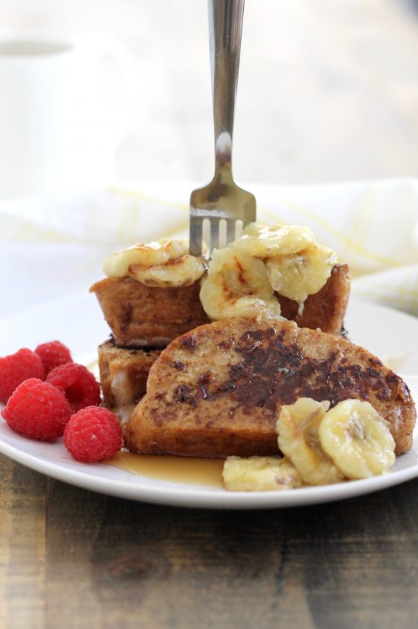 Healthier Whole Wheat Challah French Toast with Caramelized Bananas
