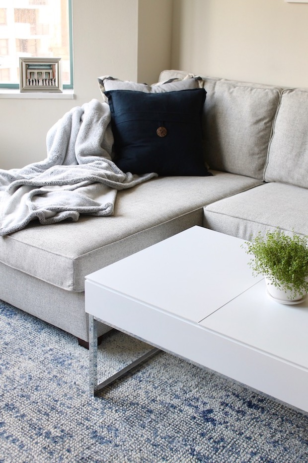 West Elm Grey Henry Sectional with Throw Pillows, White Coffee Table