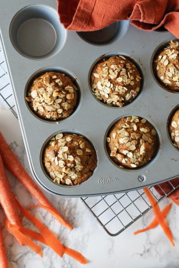 Healthy Whole Wheat Carrot Muffins with Walnuts {Dairy Free & No Refined Sugar}