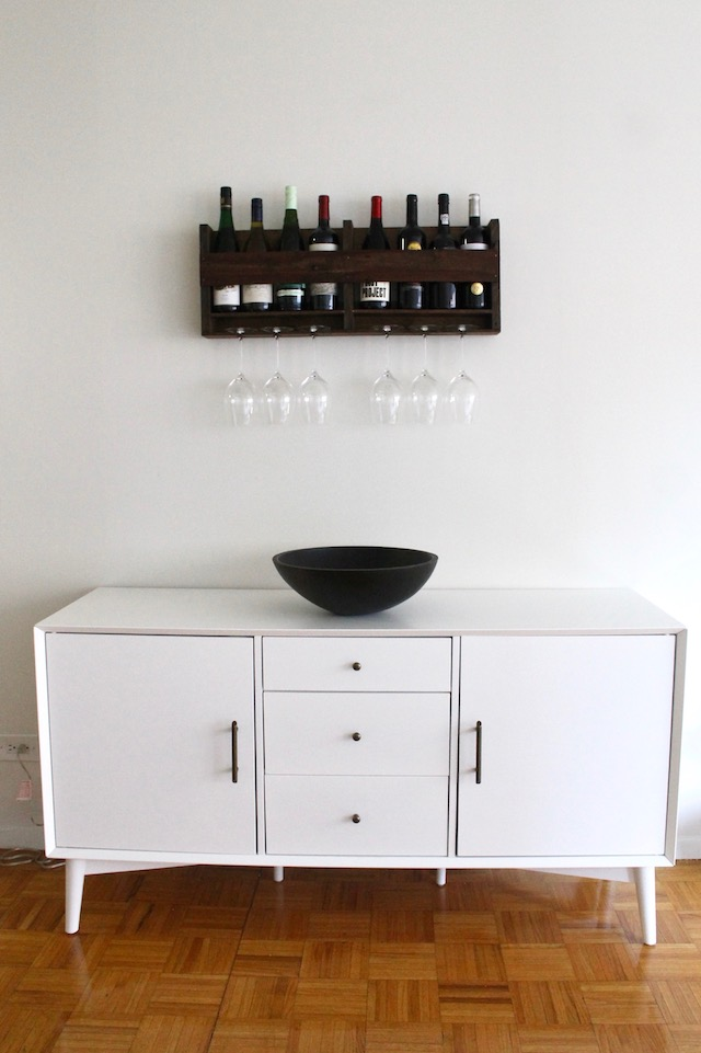 White Wayfair Sideboard and Wooden Wine Rack