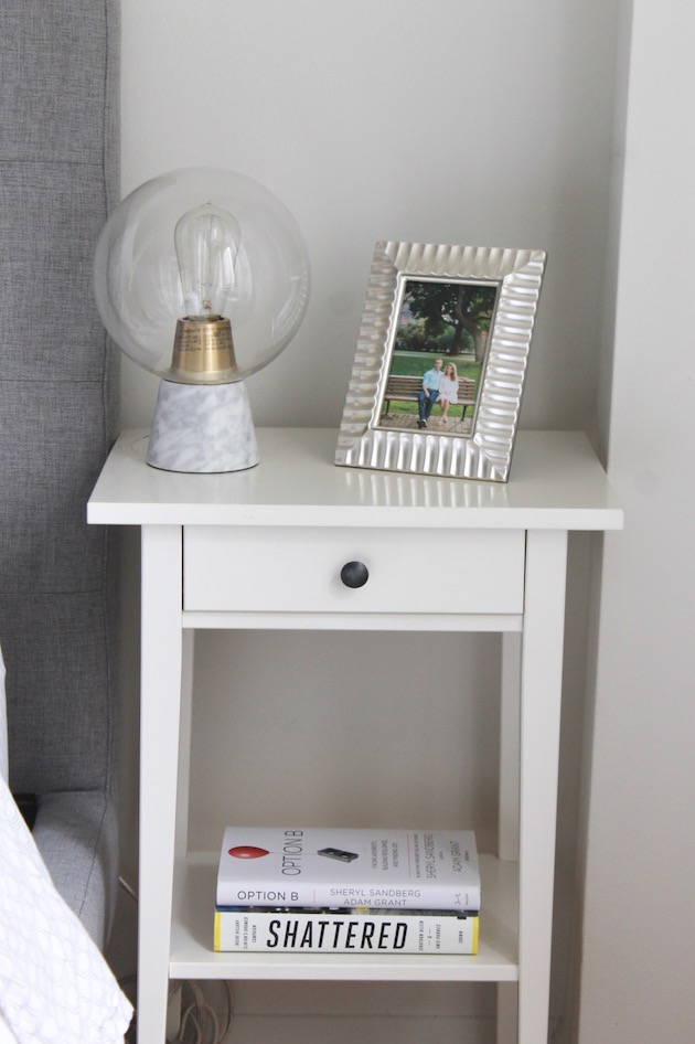 White IKEA nightstand with West Elm table lamp ll www.littlechefbigappetite.com