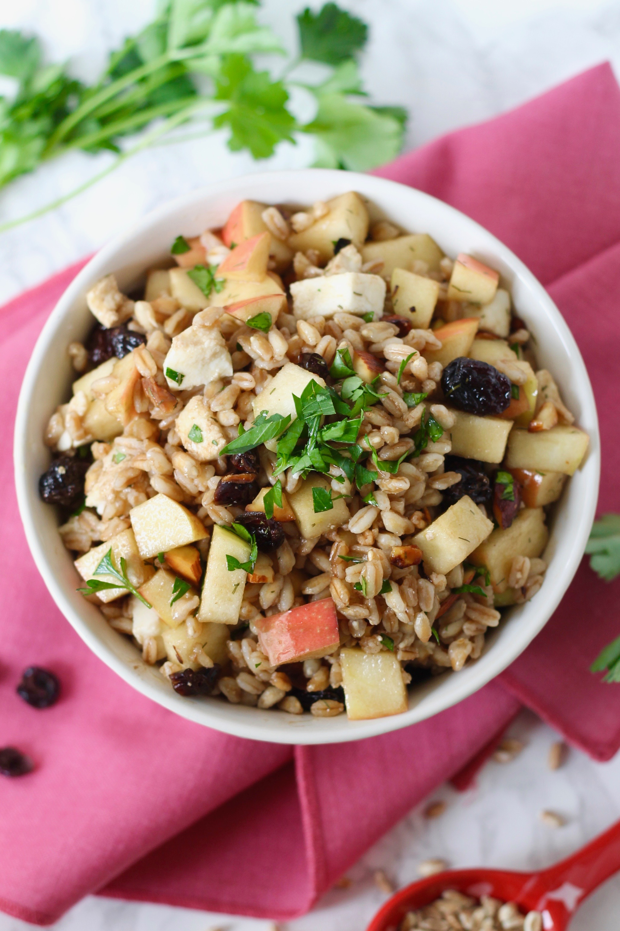 Farro Salad with Apples, Almonds and Mozzarella