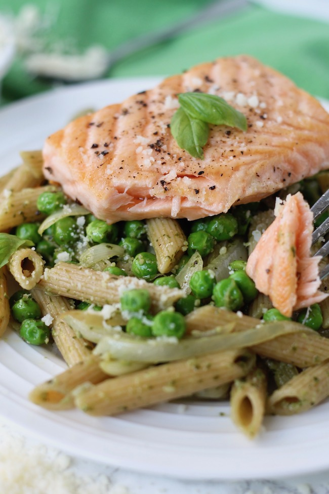 Pesto Salmon Pasta with Peas Recipe | www.littlechefbigappetite.com 2