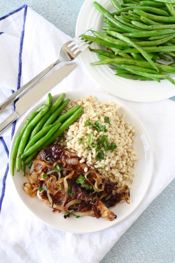 Caramelized Onion Chicken with Raspberry Pan Sauce