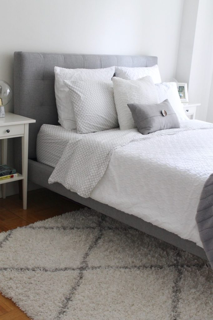 Cozy Bedroom Gray and White West Elm | www.littlechefbigappetite.com
