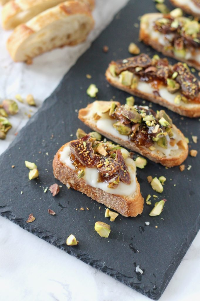 Baked Brie Crostini with Figs and Pistachios | www.littlechefbigappetite.com 3