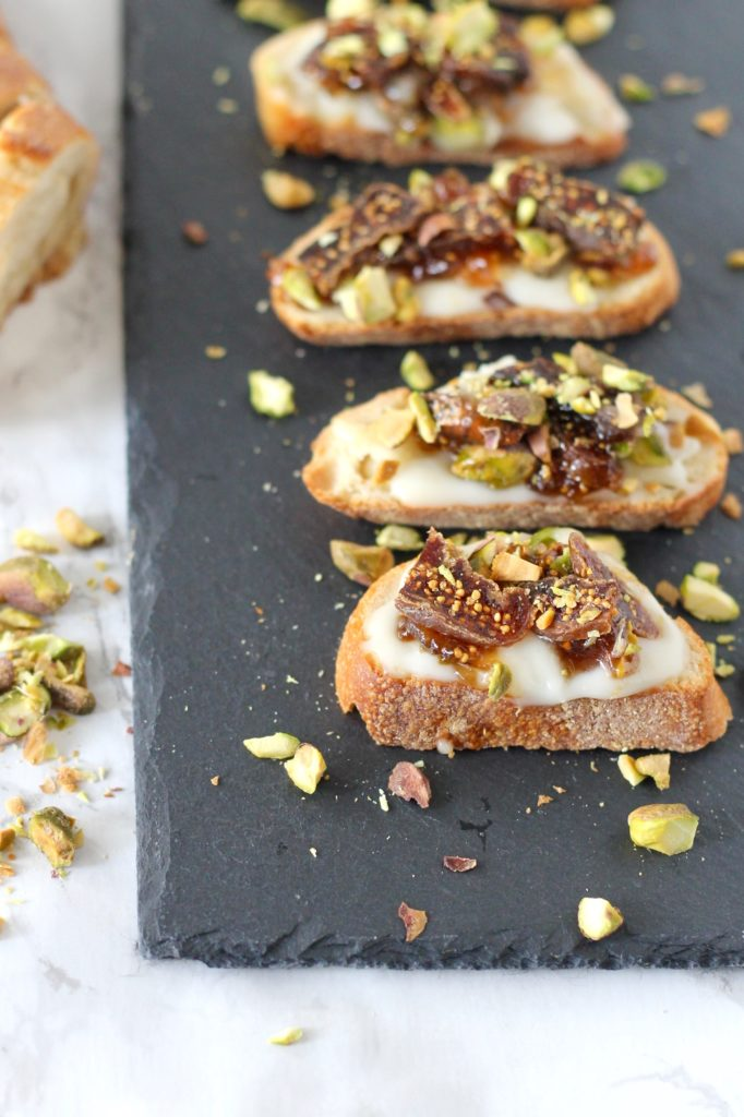 Baked Brie Crostini with Figs and Pistachios | www.littlechefbigappetite.com 2