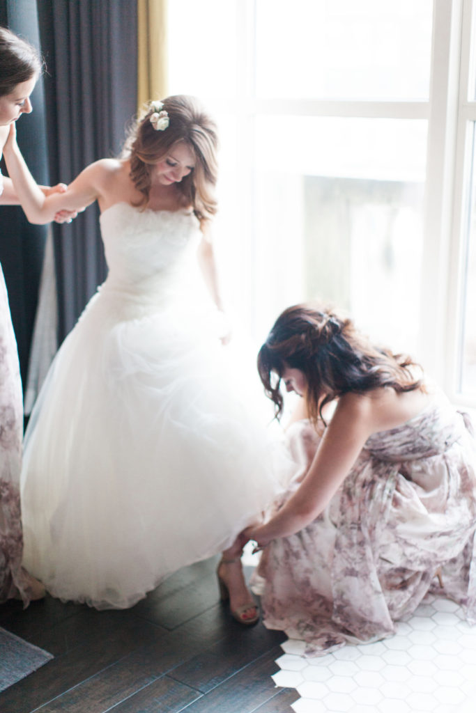 Boston Bride Getting Into Wedding Dress | www.littlechefbigappetite.com 4