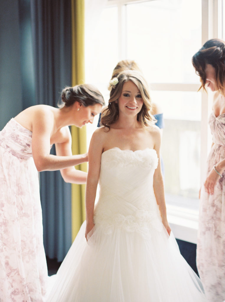 Boston Bride Getting Into Wedding Dress with Maid of Honor | www.littlechefbigappetite.com 5
