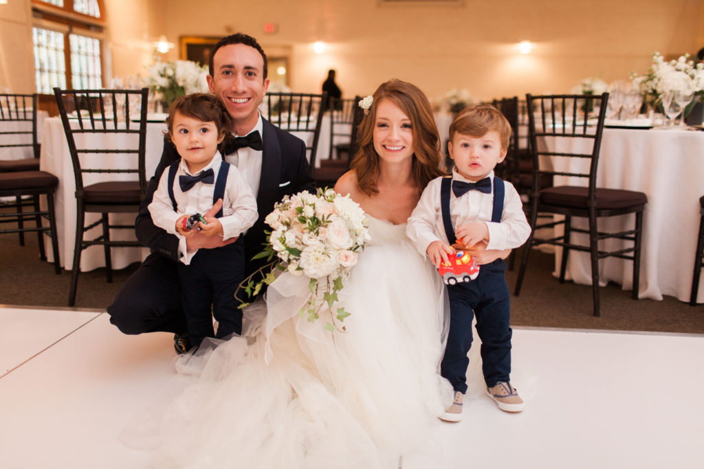 Bride and Groom with Adorable Toddler Ring Bearers | www.littlechefbigappetite.com