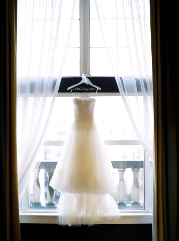 Wedding Dress Hanging on Custom Name Hanger | www.littlechefbigappetite.com