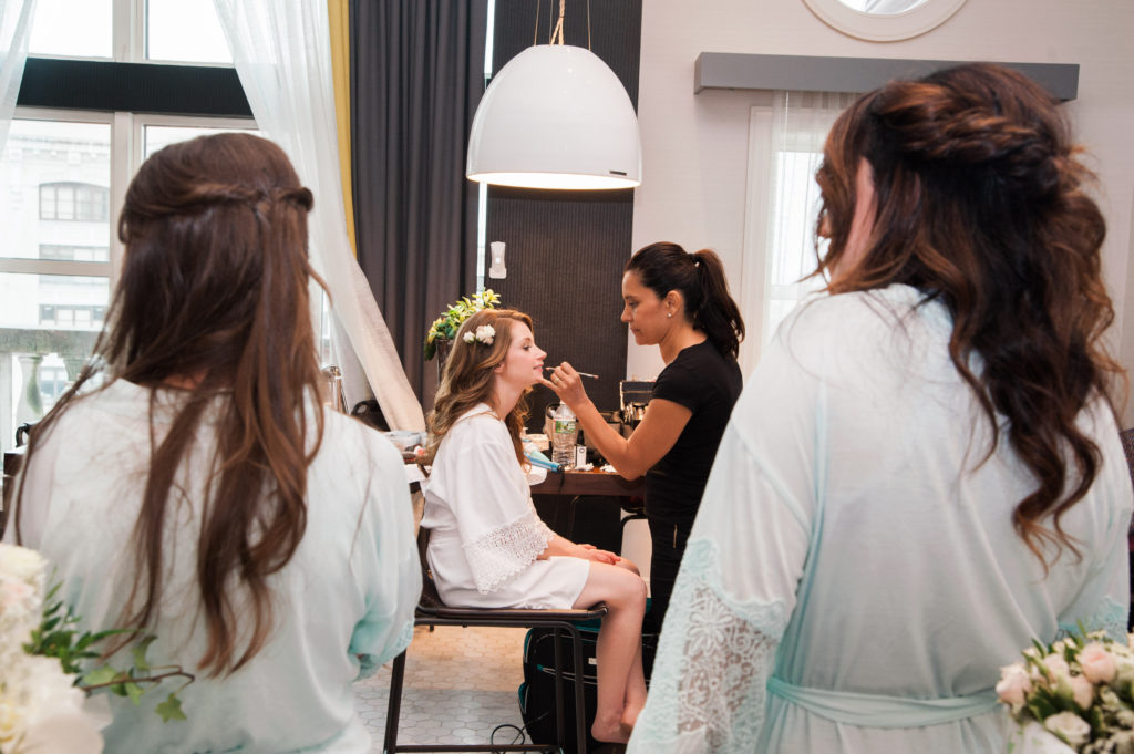 Bride Getting Makeup Done on Wedding Day | www.littlechefbigappetite.com
