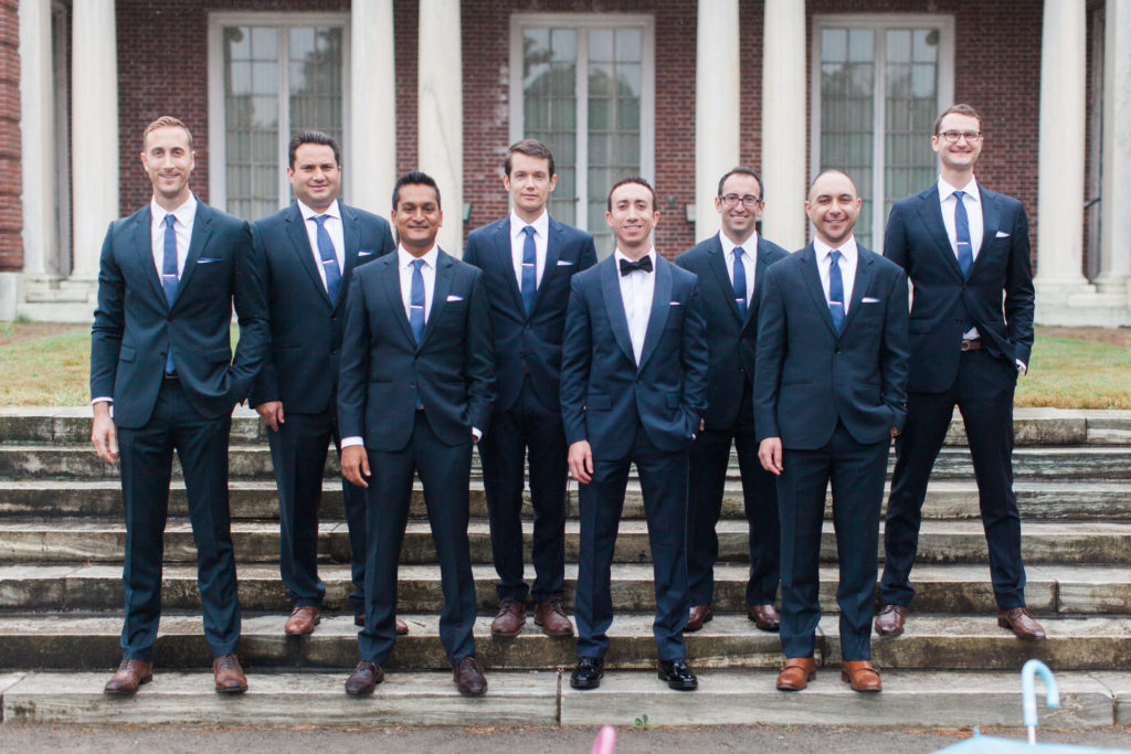 Elm Bank Wellesley Massachusetts Groomsmen in Navy Suits and Brown Shoes | www.littlechefbigappetite.com