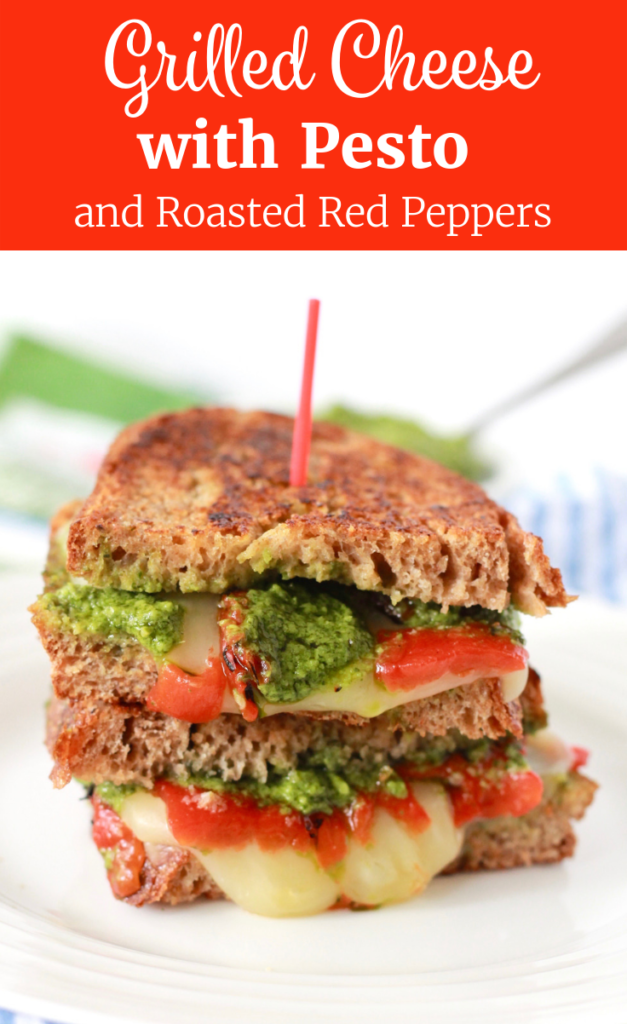 Healthy Grilled Cheese with Pesto and Roasted Red Peppers   www.littlechefbigappetite.com Pinterest