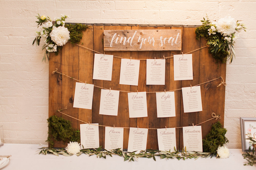 Wooden Board Wedding Escort Cards with Clothespins | www.littlechefbigappetite.com