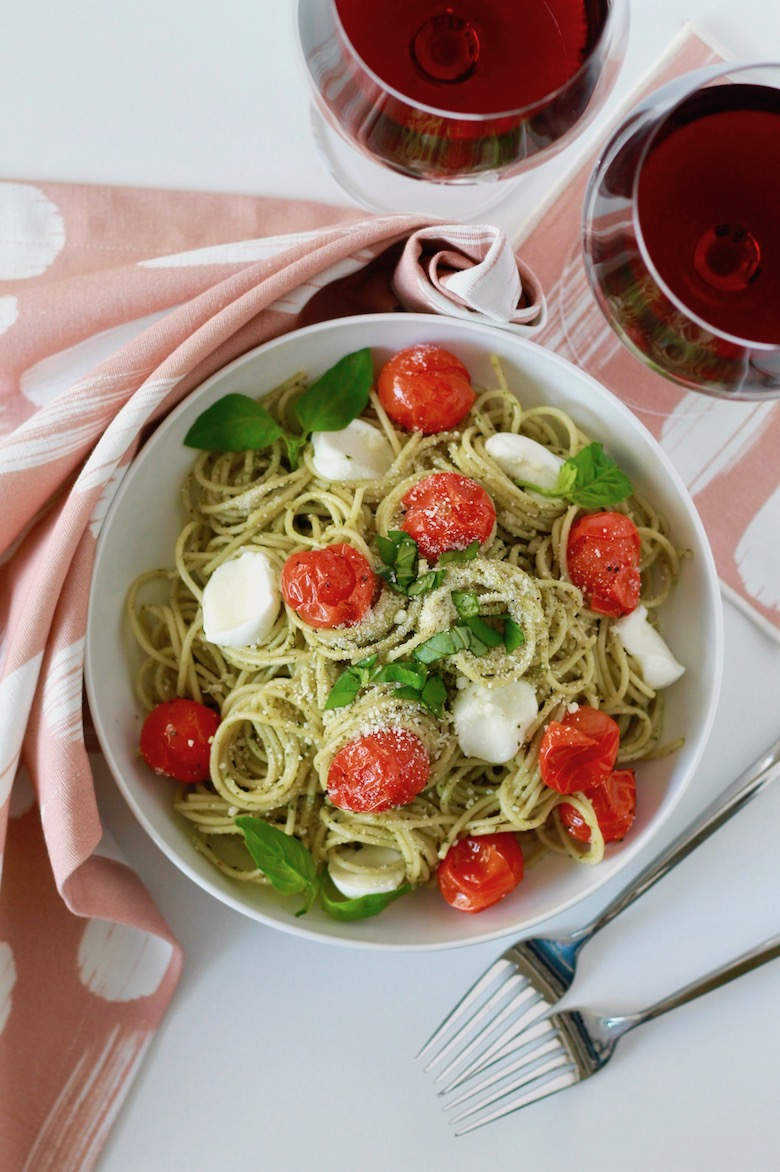 Pesto Spaghetti with Blistered Tomatoes and Roasted Garlic | littlechefbigappetite.com 3