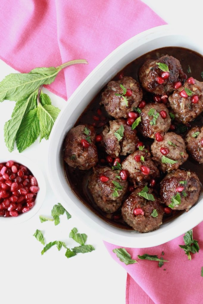 Beef Meatballs with Pomegranate Sauce overhead shot 2 | littlechefbigappetite.com