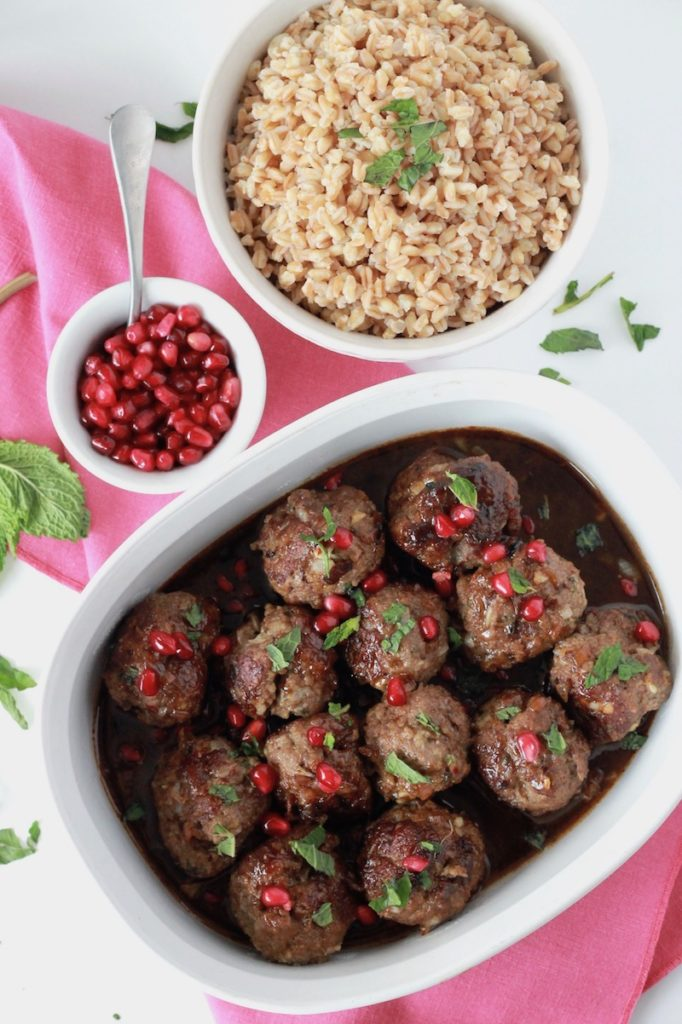 Beef Meatballs with Pomegranate Sauce and Farro | littlechefbigappetite.com
